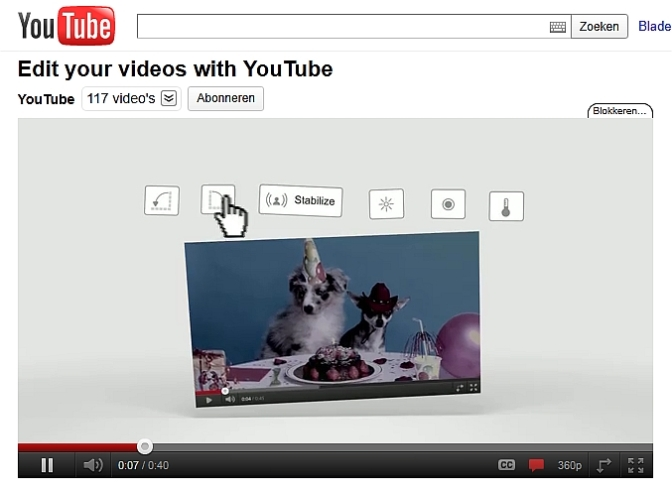 Video-editor online bij YouTube